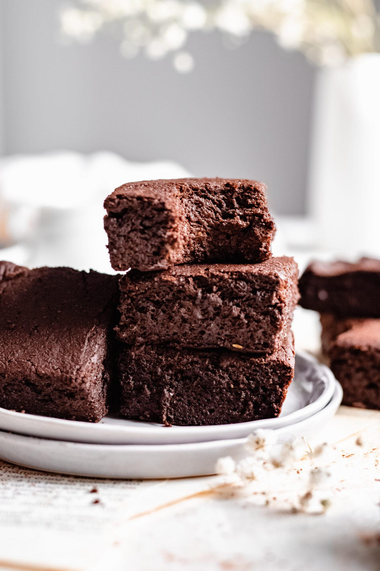 stacked fudgy vegan sweet potato brownies