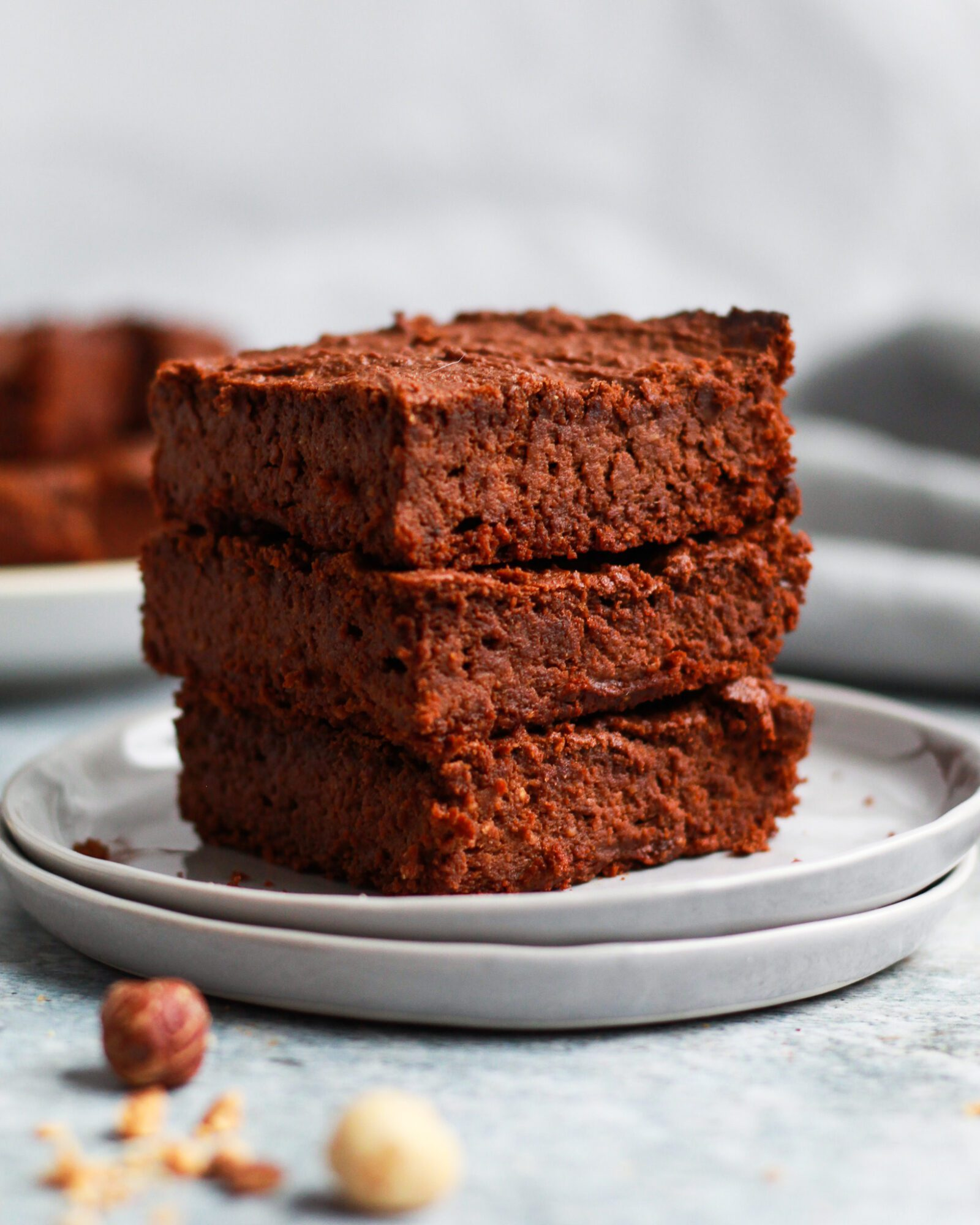 vegan Nutella brownies stacked