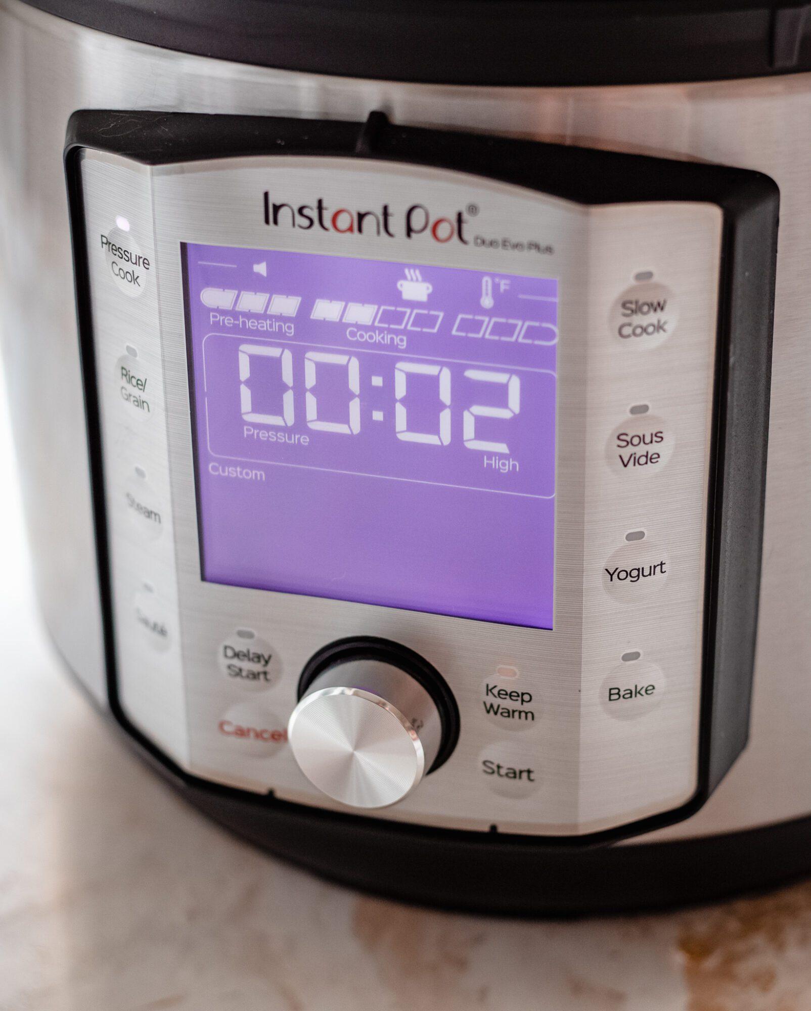timer set for instant pot
