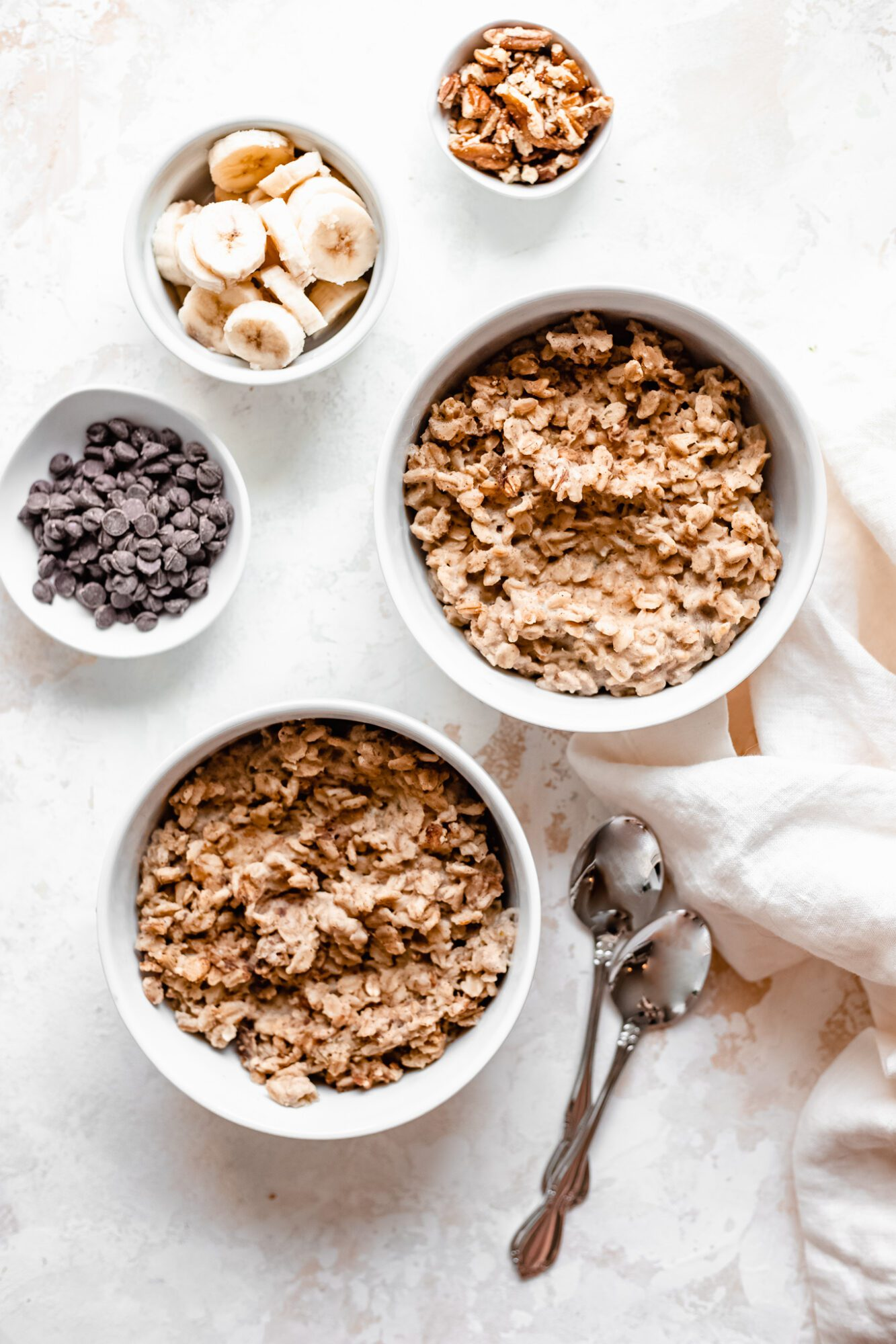 bare oatmeal bowls with topping options