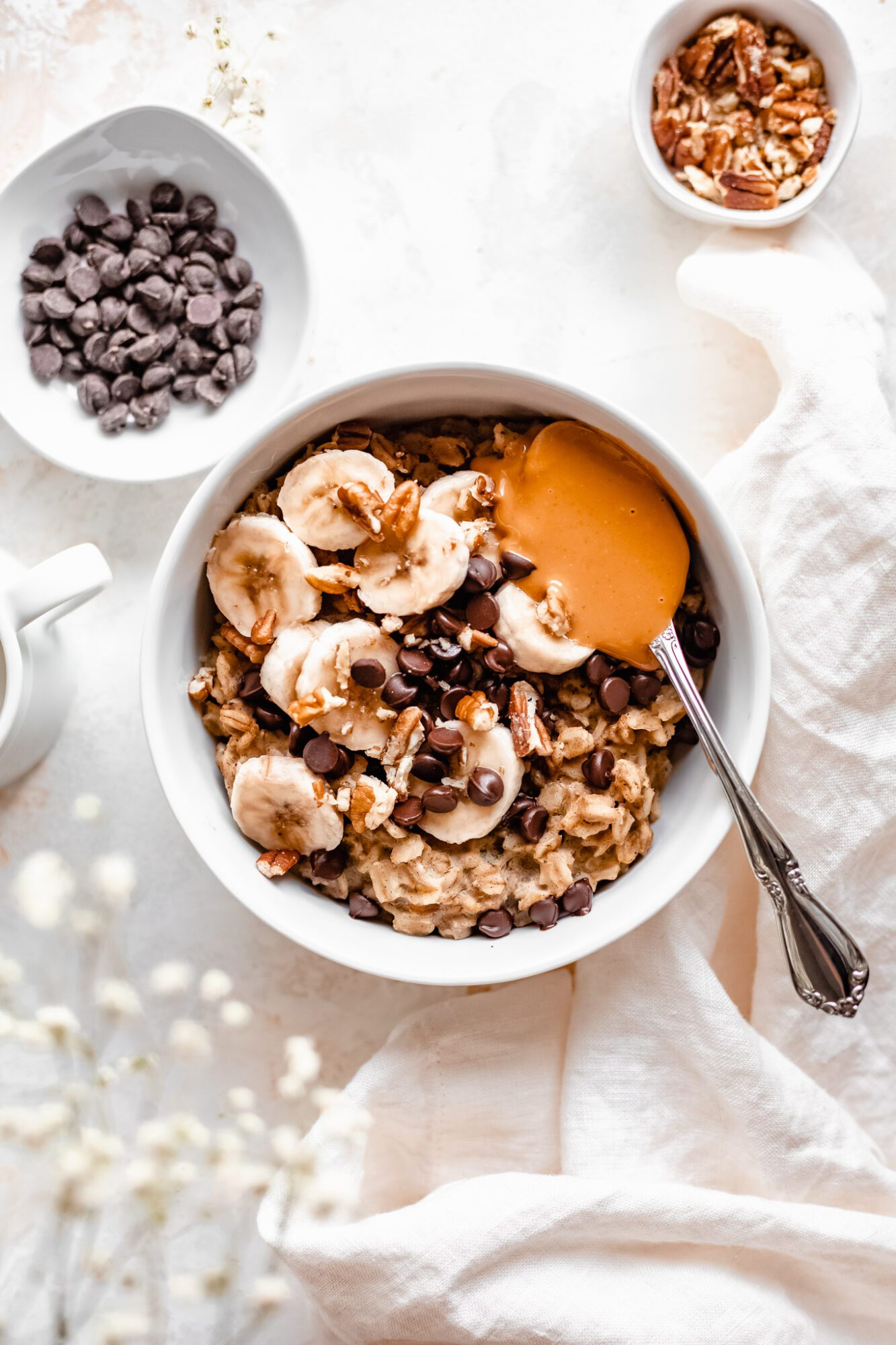 bowl of healthy oatmeal with toppings