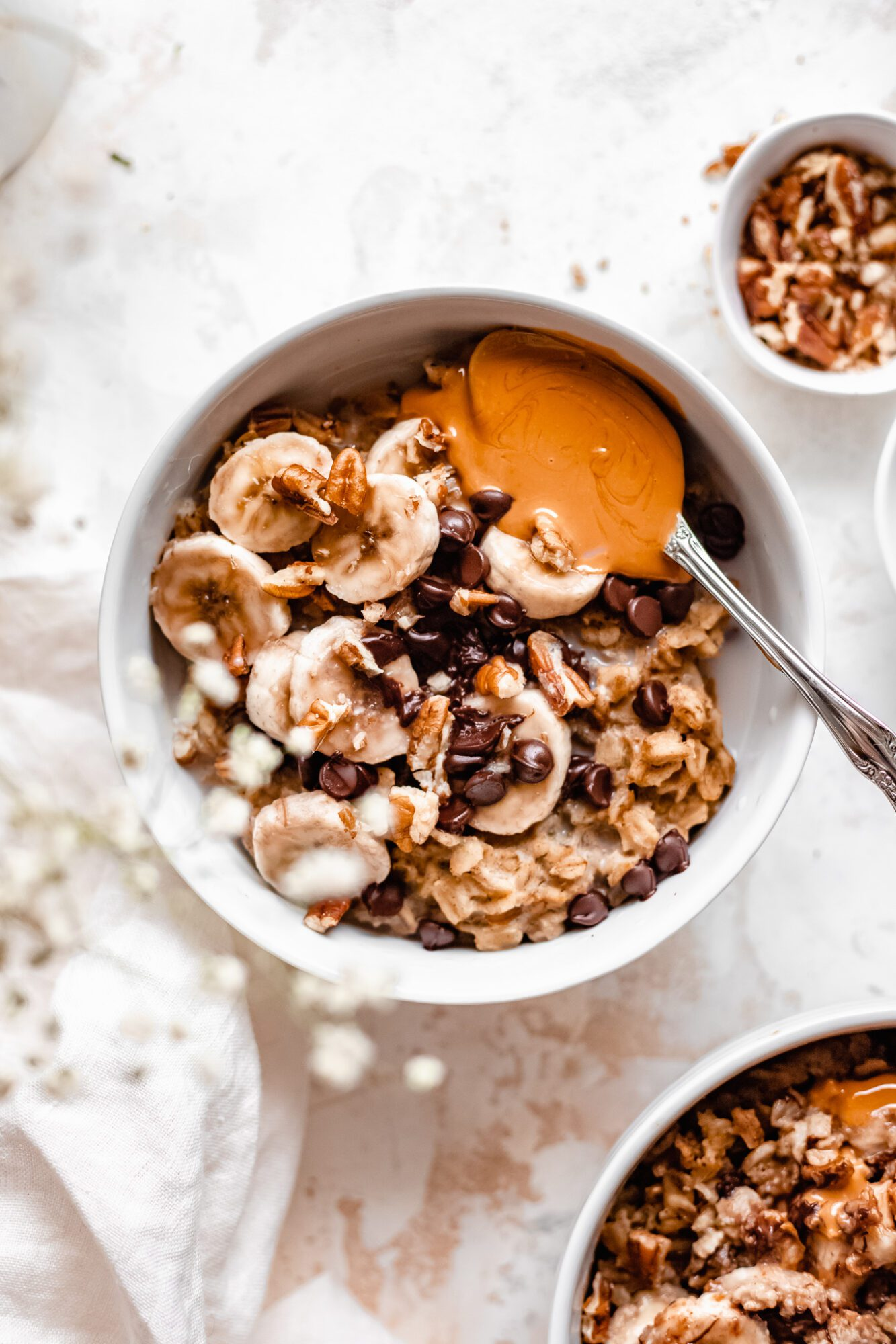 bowl with toppings on oatmeal