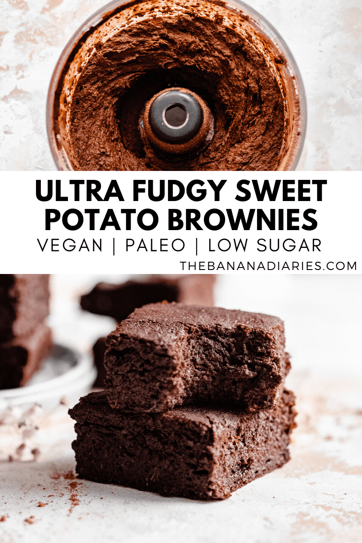 pinterest image for sweet potato brownies