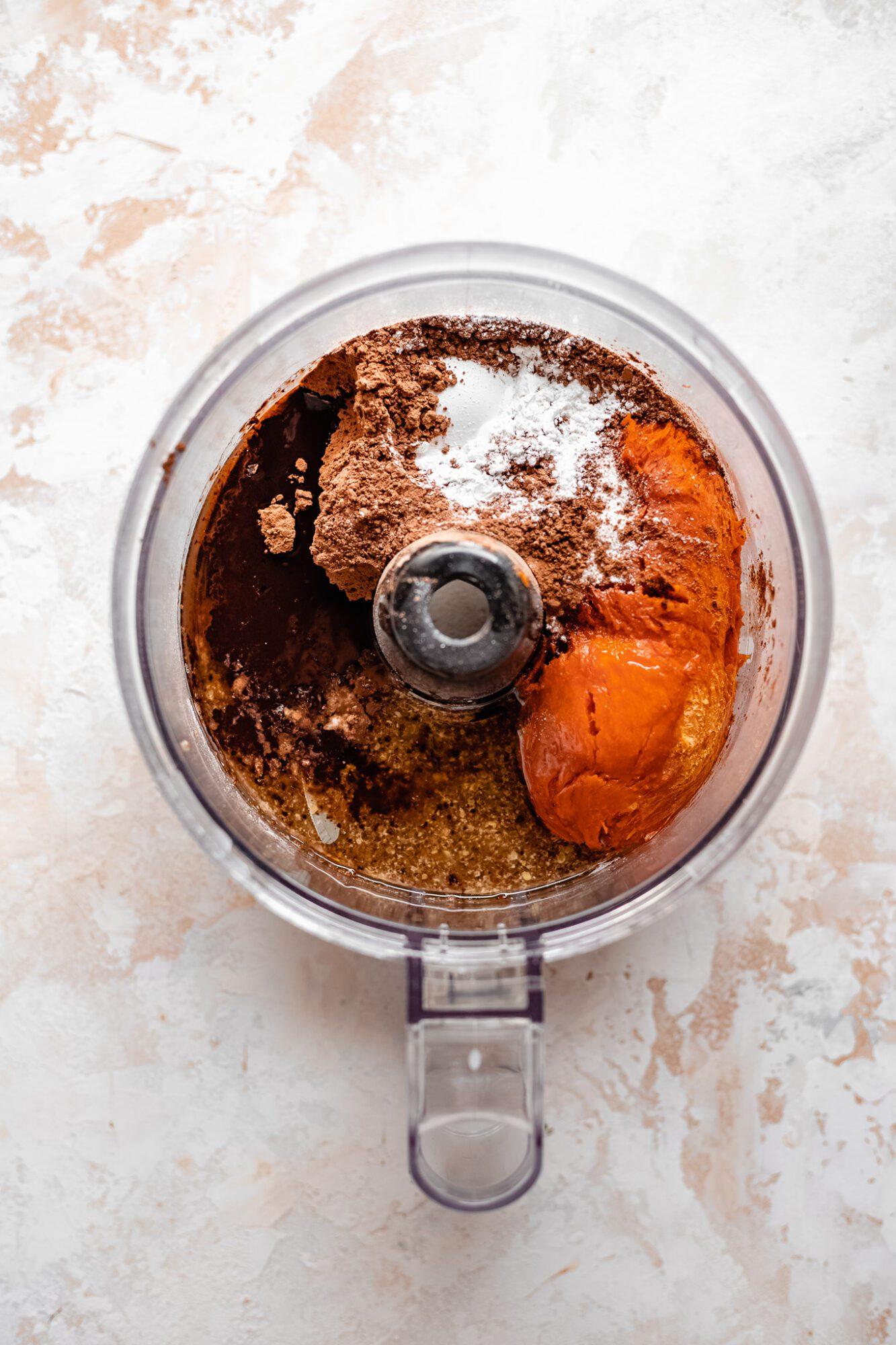 sweet potato brownie ingredients in food processor