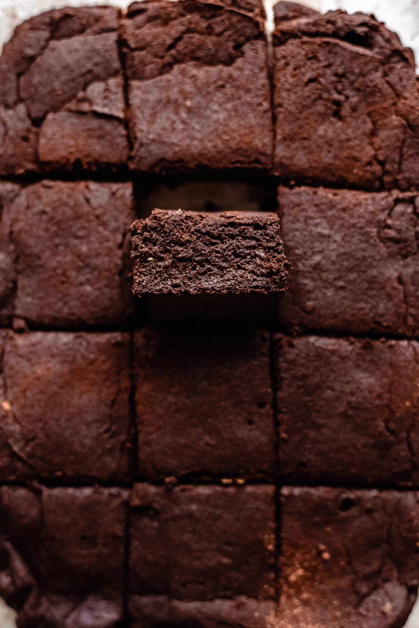 close up of sweet potato brownie pulled out