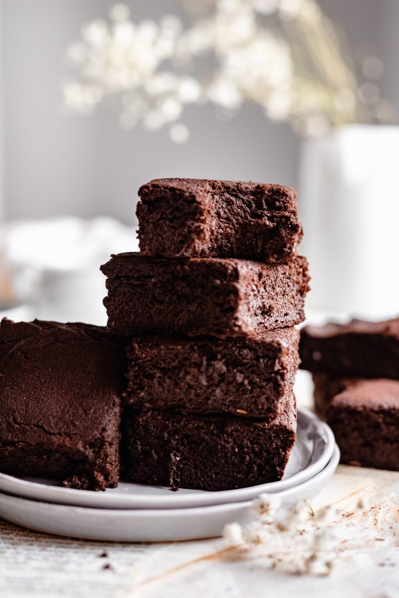 stacked vegan sweet potato brownies
