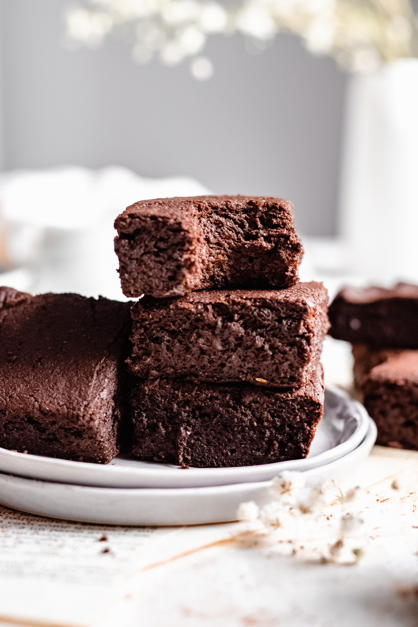 stacked brownies with bite taken out