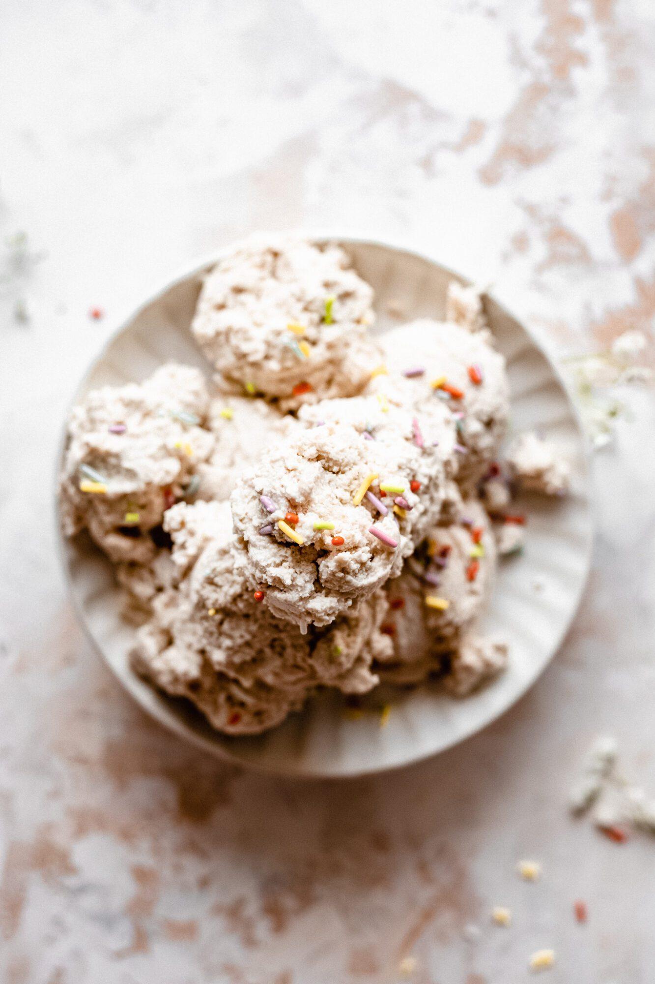 plate of vegan ice cream with sprinkles
