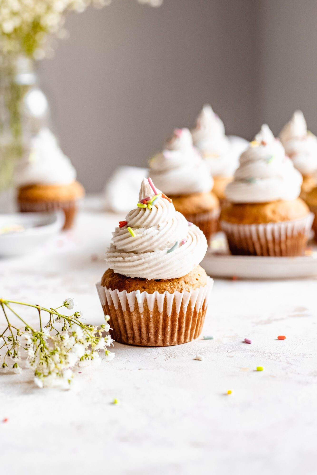 vegan cupcake with sprinkles
