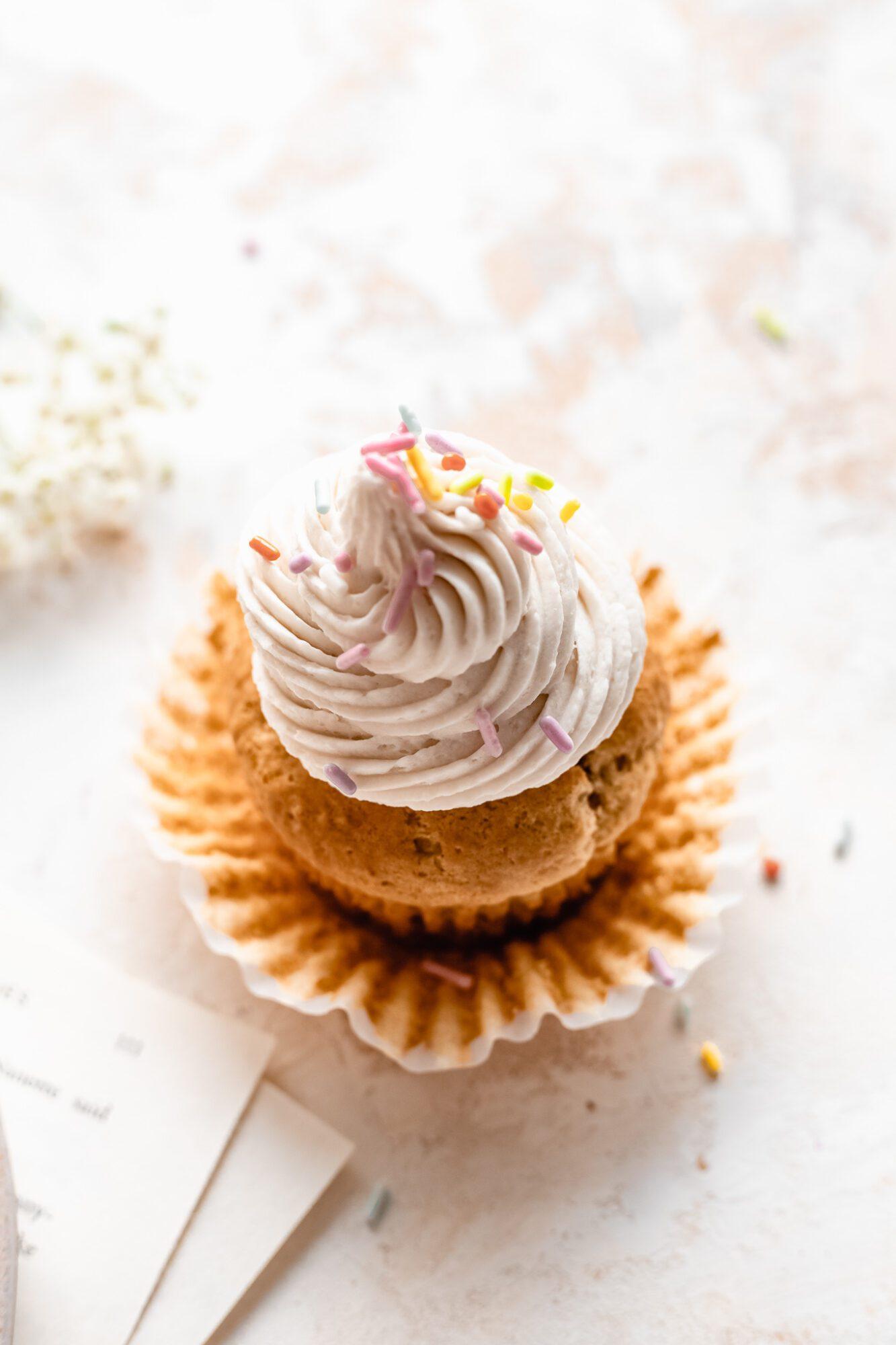 vanilla cupcake with rainbow sprinkles