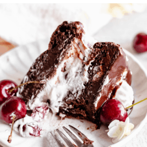 pinterest image for vegan black forest cake